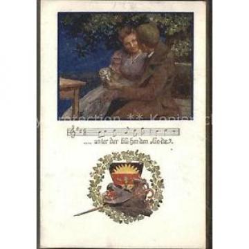 11550925 Liederkarte Wappen bluehender Linde Kuenstlerkarte Musik