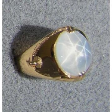 PMP LINDE LINDY TRANS WHITE STAR SAPPHIRE CREATED RING YELLOW GOLD PLATE .925 SS