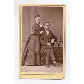 Y4589/ CDV Foto Ehepaar   Photo Herm. Linde  Lübeck ca.1890