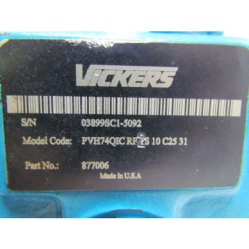 Eaton Vickers High Pressure Variable Axial Piston Pump 33 GPM@1800 RPM 3625 PSI