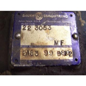 SAUER SUNDSTRAND POSITIVE DISPLACEMENT HYDRAULUIC PUMP MODEL CODE 22-3053