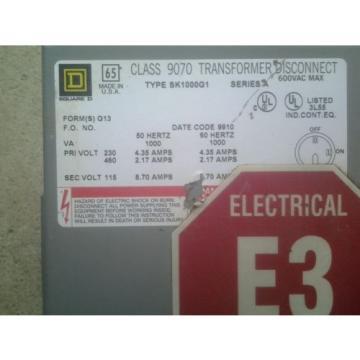 Square D 9070-SK1000G1 Transformer / Disconnect Pri.230/480 Sec 115V 8.70 A