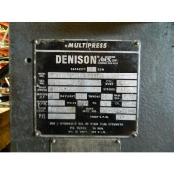 Denison 12-Ton C-Frame Hydraulic Press, Multipress, 12#034; Str, 10 HP, Used