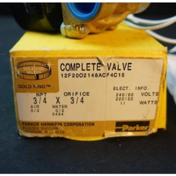 "Parker solenoid valve 12f2002148acf4c15  11 watts 3/4"" X 3/4"" in out"