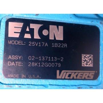 EATON VICKERS HYDRAULIC VANE PUMP, 25V17A-1B22R, 02-137113-2