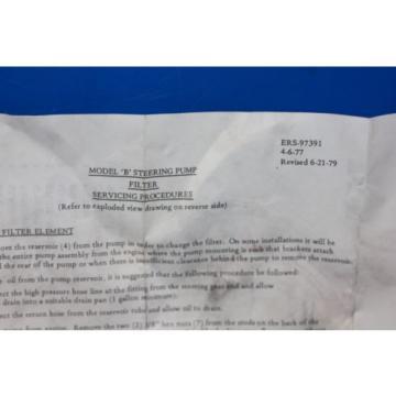 Eaton Model B Power Steering Pump Filter Service Kit ERS-97391