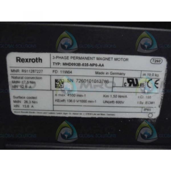 REXROTH Australia Singapore MHD093B-035-NP0-AA 3 PHASE MAGNET MOTOR *NEW NO BOX* #1 image