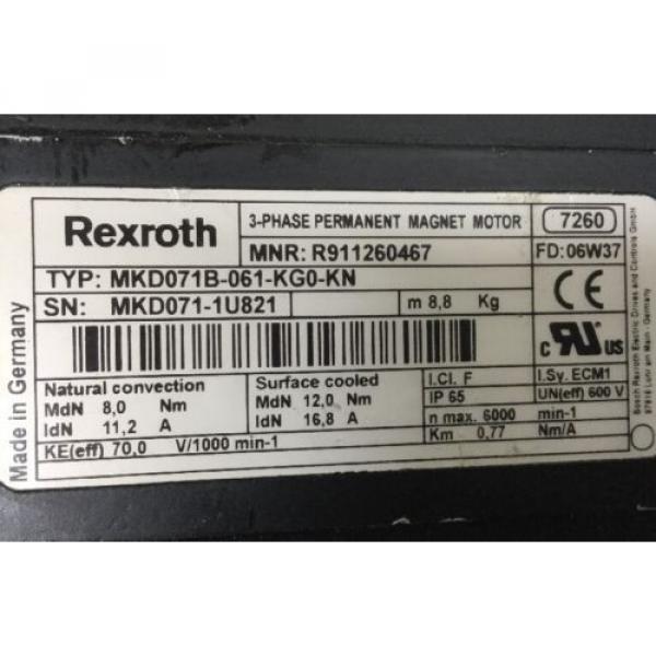 REXROTH Dutch France 3~PHASE -PERMANENT-MAGNET-MOTOR <> MKD071B -061 -KG0 -KN #4 image
