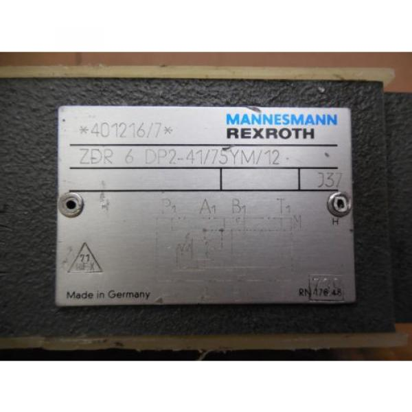 Rexroth China Egypt Mannesmann Hydraulic Valve ZDR 6 DP2-41/75YM/12 ZDR6DP24175YM12 New #3 image