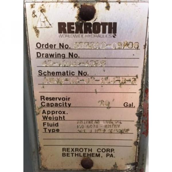 REXROTH Greece Mexico AA10VS028DFLR/30R-PKC63N00 HYDRAULIC POWER UNIT, 5 HP, 20 GAL. 1800 RPM #6 image