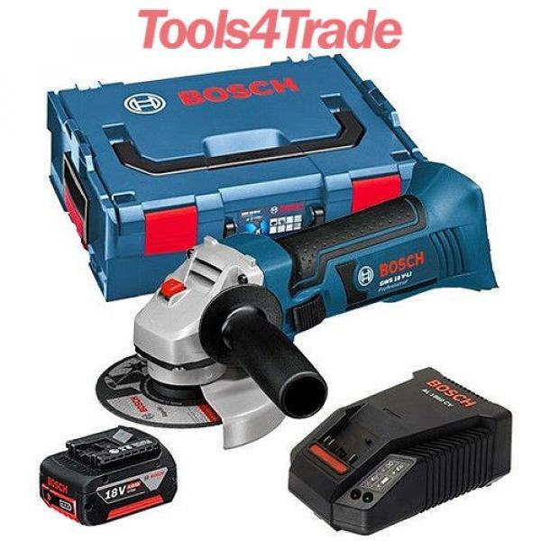 Bosch 18v GWS18 V-LI Cordless Angle Grinder + 1 x 4.0Ah Battery + Charger #1 image