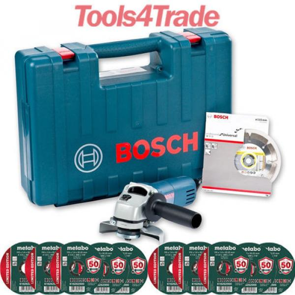 Bosch GWS850 Angle Grinder With Diamond Blade 240V + 10 Thin Metal Inox Disc #1 image