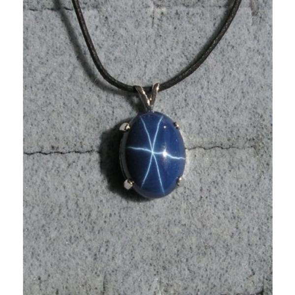 16X12MM 9+CT LINDE LINDY CRNFLWR BLUE STAR SAPPHIRE CREATED SECOND PENDANT 925 #1 image