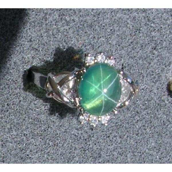 PMP LINDE LINDY TRNSP SPRING GREEN STAR SAPPHIRE CREATED CAP HRT RING RP .925 SS #1 image