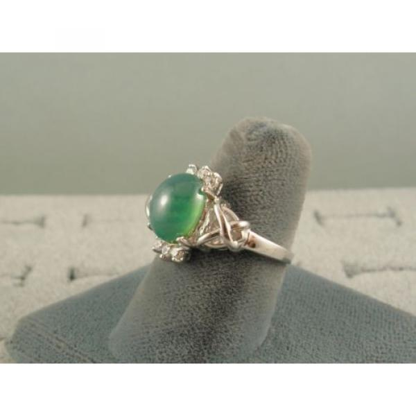 PMP LINDE LINDY TRNSP SPRING GREEN STAR SAPPHIRE CREATED CAP HRT RING RP .925 SS #2 image