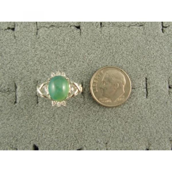 PMP LINDE LINDY TRNSP SPRING GREEN STAR SAPPHIRE CREATED CAP HRT RING RP .925 SS #3 image