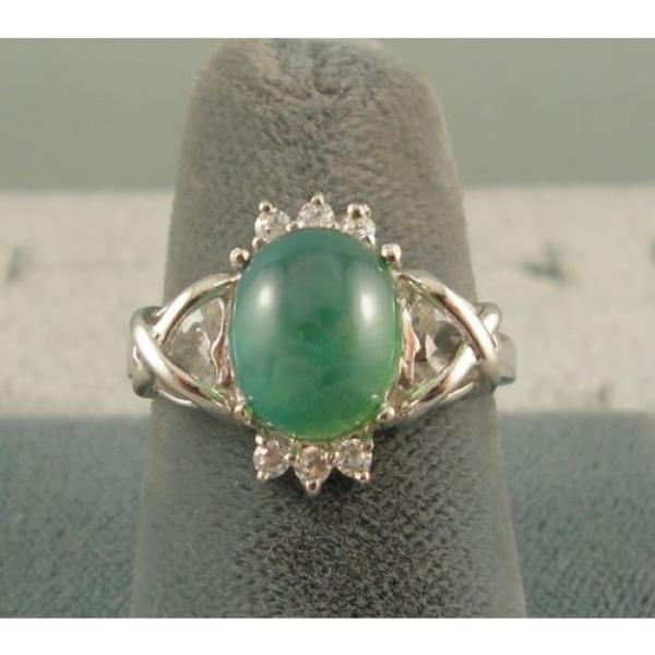 PMP LINDE LINDY TRNSP SPRING GREEN STAR SAPPHIRE CREATED CAP HRT RING RP .925 SS #4 image