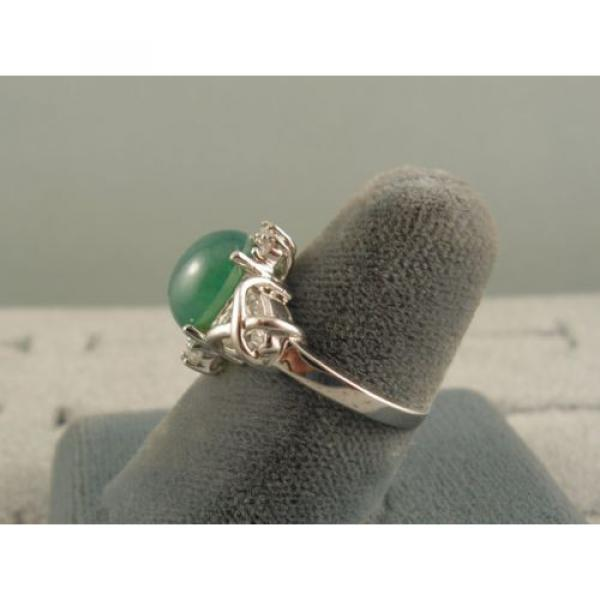 PMP LINDE LINDY TRNSP SPRING GREEN STAR SAPPHIRE CREATED CAP HRT RING RP .925 SS #5 image