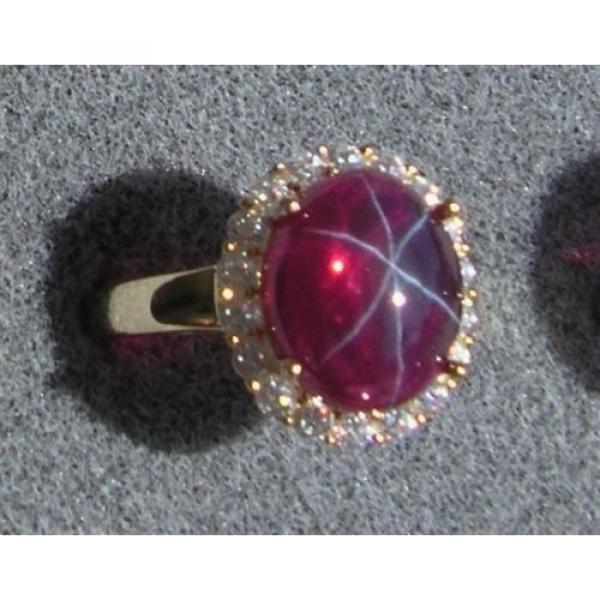 PMP LINDE LINDY TRANSPARENT RED STAR SAPPHIRE CREATED HALO RING YLGD PLT .925 SS #1 image