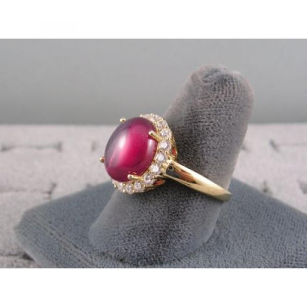 PMP LINDE LINDY TRANSPARENT RED STAR SAPPHIRE CREATED HALO RING YLGD PLT .925 SS #2 image