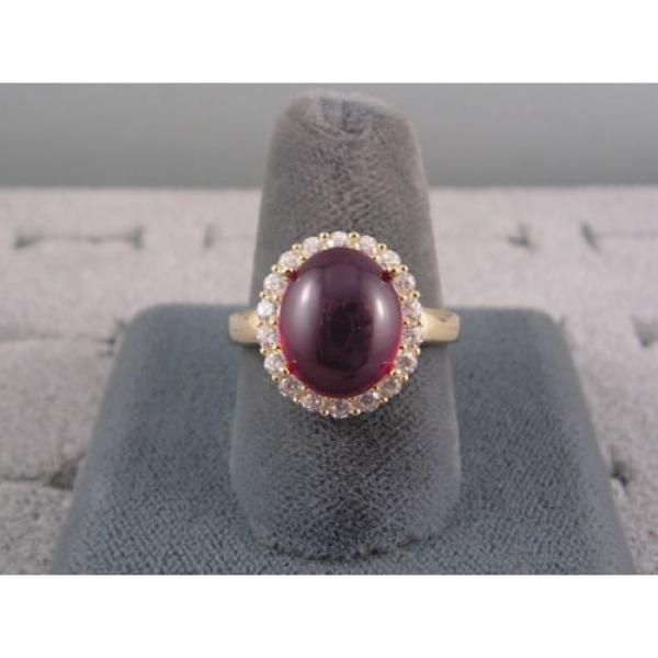 PMP LINDE LINDY TRANSPARENT RED STAR SAPPHIRE CREATED HALO RING YLGD PLT .925 SS #4 image