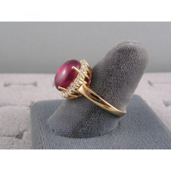 PMP LINDE LINDY TRANSPARENT RED STAR SAPPHIRE CREATED HALO RING YLGD PLT .925 SS #5 image