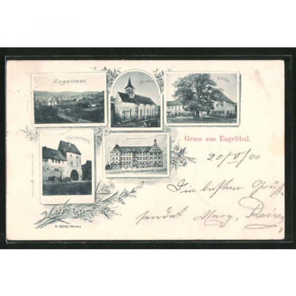 alte AK Engelthal, Gasthaus zur Linde, Kirche, Thorgruppe und Sanatorium 1900 #1 image