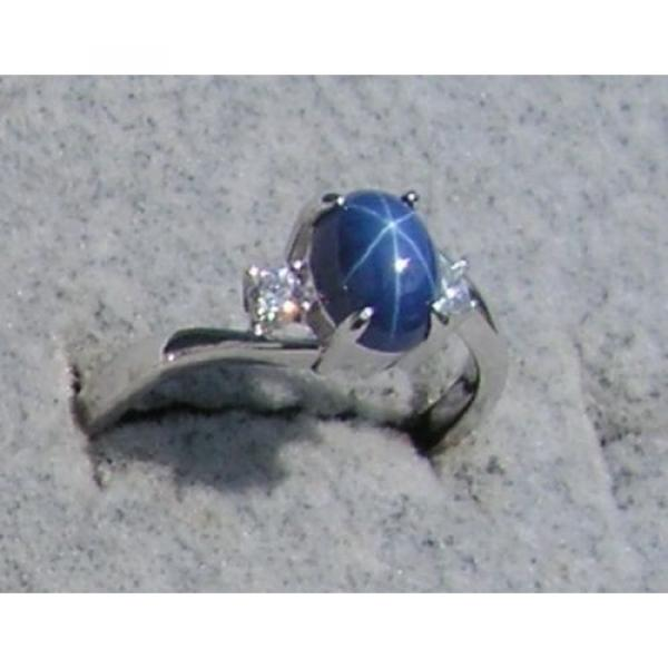 VINTAGE LINDE LINDY CORNFLOWER BLUE STAR SAPPHIRE CREATED RING RD PLATE .925 S/S #1 image