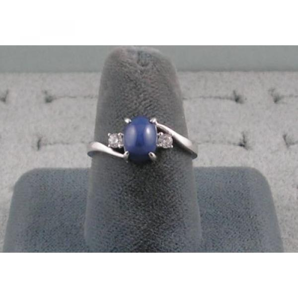 VINTAGE LINDE LINDY CORNFLOWER BLUE STAR SAPPHIRE CREATED RING RD PLATE .925 S/S #2 image