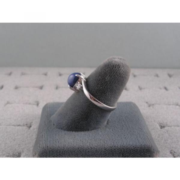 VINTAGE LINDE LINDY CORNFLOWER BLUE STAR SAPPHIRE CREATED RING RD PLATE .925 S/S #4 image
