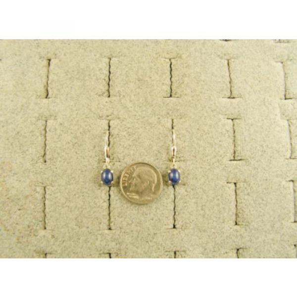 VINTAGE LINDE LINDY CRNFL BLUE STAR SAPPHIRE CREATED LEVER BACK EARRINGS .925 SS #2 image
