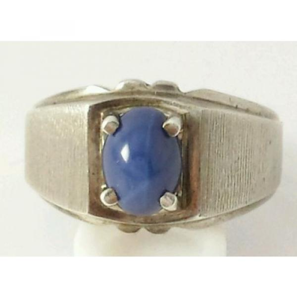 Brushed Sterling Silver Linde Star Sapphire Ring Size 7 1/2 #1 image