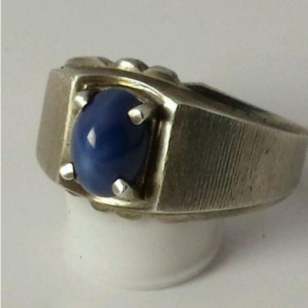 Brushed Sterling Silver Linde Star Sapphire Ring Size 7 1/2 #2 image