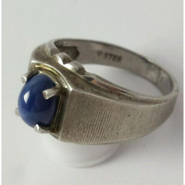Brushed Sterling Silver Linde Star Sapphire Ring Size 7 1/2 #3 image