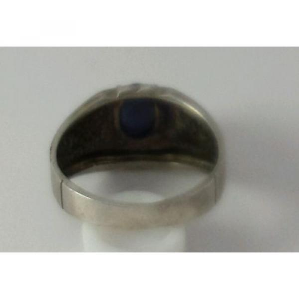 Brushed Sterling Silver Linde Star Sapphire Ring Size 7 1/2 #6 image