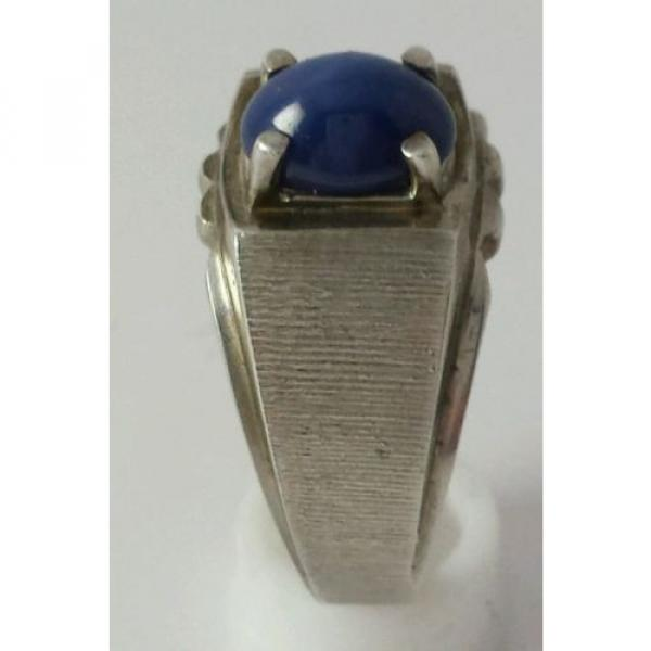 Brushed Sterling Silver Linde Star Sapphire Ring Size 7 1/2 #7 image