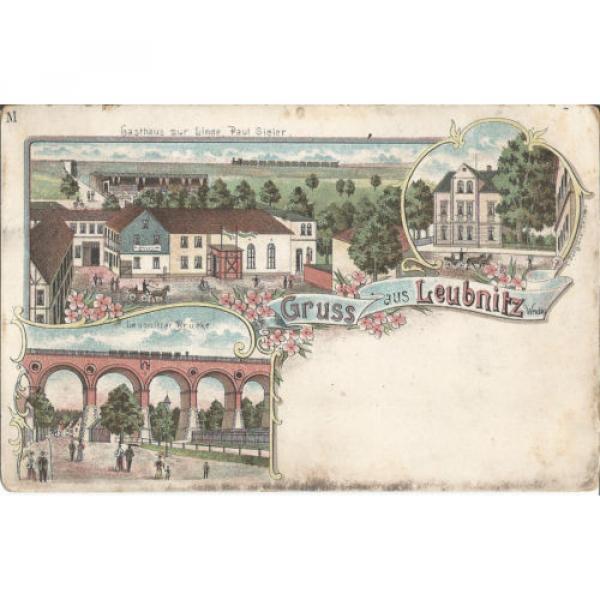 Leubnitz bei Werdau, Gasthaus zur Linde-Paul Sieler, Litho-Ansichtskarte um 1900 #1 image