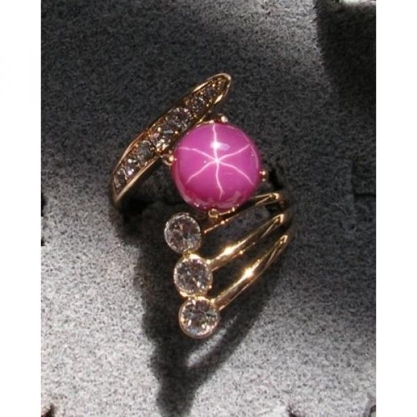 LINDE LINDY PINK STAR SAPPHIRE CREATED RUBY 2ND YELLOW GOLD ION PLT BRASS RING #1 image