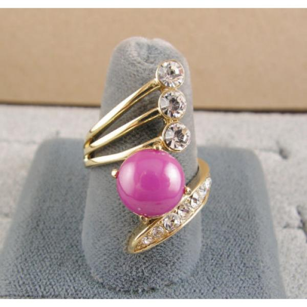 LINDE LINDY PINK STAR SAPPHIRE CREATED RUBY 2ND YELLOW GOLD ION PLT BRASS RING #2 image