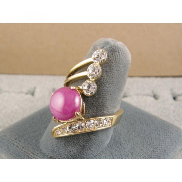 LINDE LINDY PINK STAR SAPPHIRE CREATED RUBY 2ND YELLOW GOLD ION PLT BRASS RING #3 image