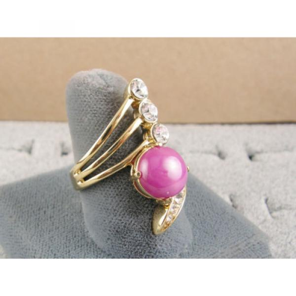 LINDE LINDY PINK STAR SAPPHIRE CREATED RUBY 2ND YELLOW GOLD ION PLT BRASS RING #4 image