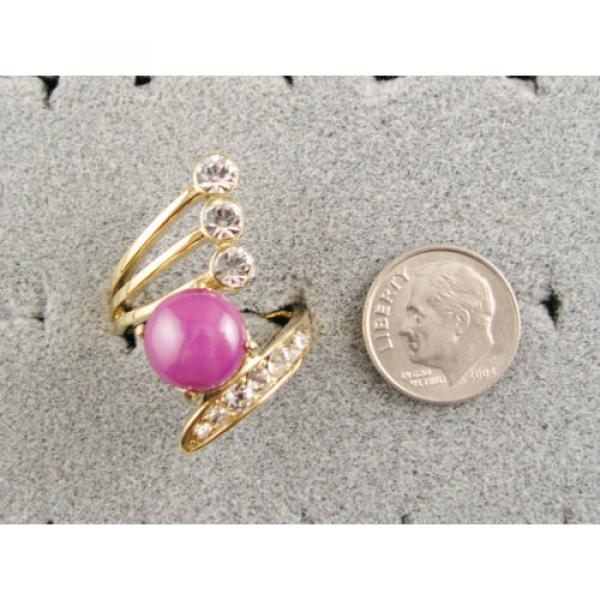 LINDE LINDY PINK STAR SAPPHIRE CREATED RUBY 2ND YELLOW GOLD ION PLT BRASS RING #5 image