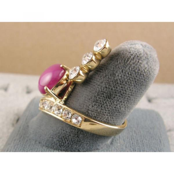 LINDE LINDY PINK STAR SAPPHIRE CREATED RUBY 2ND YELLOW GOLD ION PLT BRASS RING #6 image