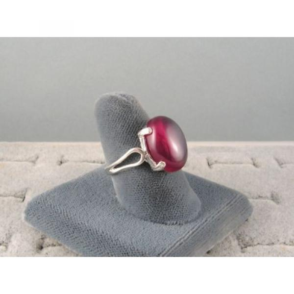 16X12MM 9+CT LINDE LINDY RED STAR SAPPHIRE CREATED SECOND QUALITY RING .925 SS #3 image
