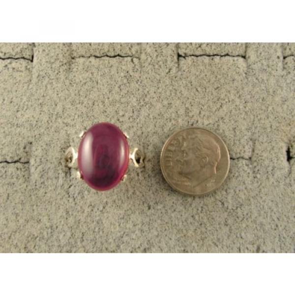 16X12MM 9+CT LINDE LINDY RED STAR SAPPHIRE CREATED SECOND QUALITY RING .925 SS #5 image