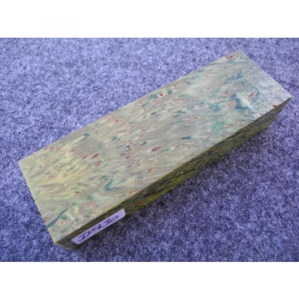 gemaserte Linde Maserlinde grün stabilisiert Messergriffblock 128x40 x28 mm D930 #1 image