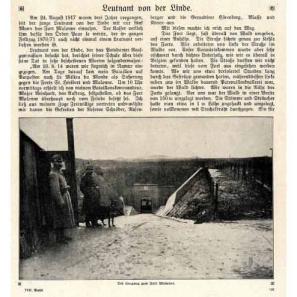 Leutnant von der Linde ( Eroberer von Fort Malonne ) Foto-Bericht c.1917 #1 image