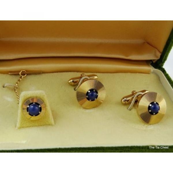 Vintage Cufflinks Set Genuine Linde Lindy Star Sapphires Anson #1 image