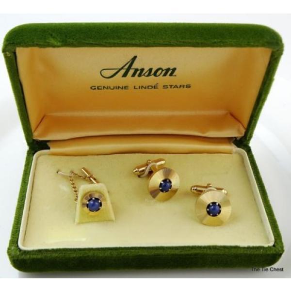 Vintage Cufflinks Set Genuine Linde Lindy Star Sapphires Anson #2 image
