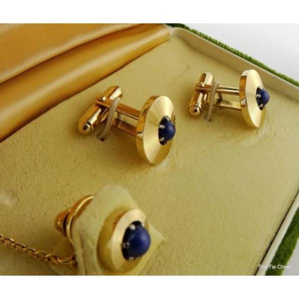 Vintage Cufflinks Set Genuine Linde Lindy Star Sapphires Anson #3 image